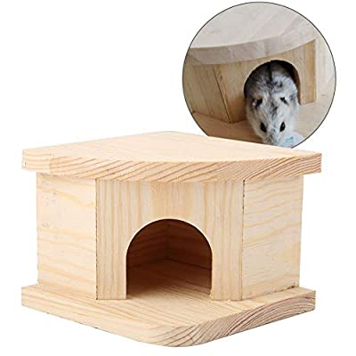 Wooden Hamster House, Natural Wooden Hamster Warm Bed Cabin Small Animal Grassland Custom House for Golden Bear Squirrel Hedgehog Chinchillas Rabbits from HEEPDD