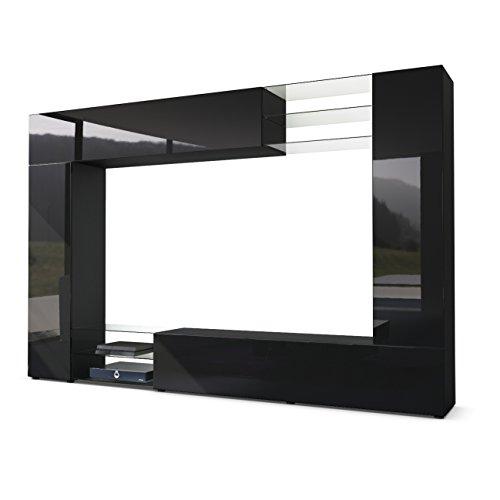 Vladon Mueble de Pared Mirage, Cuerpo en Negro Mate/Frentes en Negro de Alto Brillo