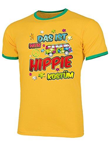 Hippie Kostüm Herren T Shirt Motto Schlager Party Karneval Fasching Verkleidung Schlagerkleidung Mottoparty Paar Deko Disco Weste Hut Gelb Grün