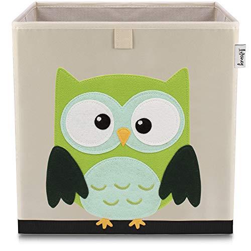 Lifeney Kinder Aufbewahrungsbox I praktische Aufbewahrungsbox für jedes Kinderzimmer I Kinder Spielkiste I Niedliche Spielzeugbox I Korb zur Aufbewahrung von Kinder Spielsachen (Eule hell)