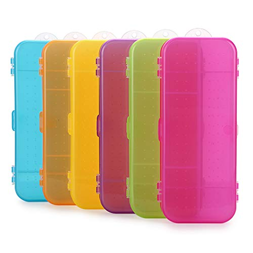 BTSKY Double Deck School Pencils Box- Assorted Color Stationery Box Small Pencil Case Organizer Durable Plastic Pen Holder Box with 5 Compartments for Small School Supplies Organization (6 Pack)