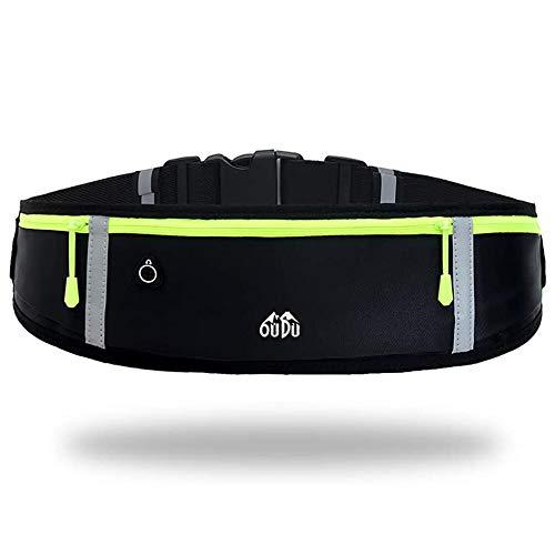 Riñonera Running para correr, impermeable, para entrenamiento, viajes y más, con tiras reflectantes y orificio para auriculares, ideal para todo tipo de teléfonos