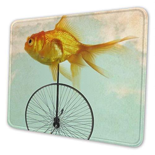 Gaming Mauspad Einrad Goldfisch Rechteck Rutschfeste Gummi Mauspads Mousepad Matte für Büro/Computer/Laptop,Geschenk für Männer Frauen