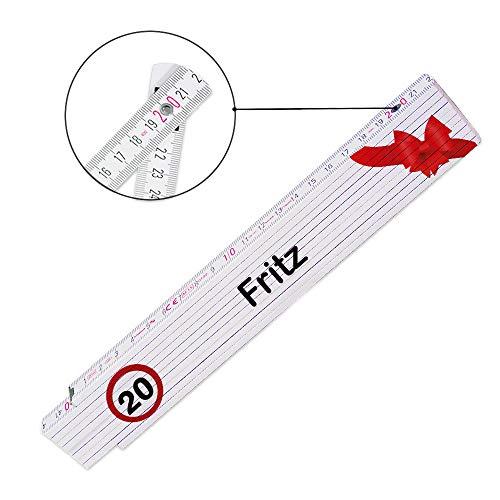 Zollstock mit Namen Fritz und Motiv zum 20. Geburtstag für Männer | Glieder-Maßstab mit Namen bedruckt | Viele Namen zur Auswahl