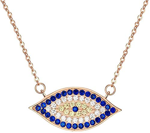 CCXXYANG Co.,ltd Necklace 925 Sterling Silver White Crystals Womens Evil Eye Pendant Necklace Women Turkish Jewelry Handmade 45Cm