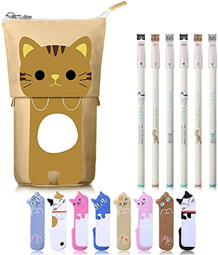 Weimay 6 Pcs Colorful Cats Design 0.38 mm Black Gel Ink Pens Cartoon Cute Cat Stationery Set, Includes 1 Canvas Cat Telescopic Pencil Pouch Bag and 240 Cute Cat Notes Page Flags Index Tabs