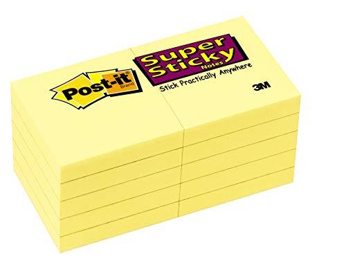 """Post-it® Notas, Super Sticky Pad, 1-7/8"""" x 1-7/8 pulgadas, Canary amarillo, 10 almohadillas por paquete"""