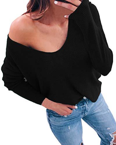 ACHIOOWA Oberteile Damen Casual Langarm Shirt V Ausschnitt Locker Off Shoulder Bluse Langarmshirt Oversize Schwarz-A25901 XL