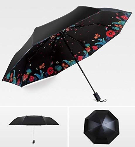 GFF Sasan Student Regenschirm Falten schwarzer Kleber Sonnenschutzschirm Ultra Starke Anti-UV-70 Prozent aus Regenschirm Daisy Cherry Blossom Regenschirm, Abdominal Gedicht