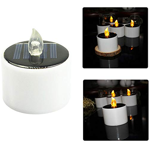 LPxdywlk Solar Lights Outdoor, Solar Power LED Flameless Candle Tea Light Home Party Wedding Outdoor Lamp Decoration White
