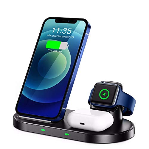 Nomi Cargador InaláMbrico 3 En 1, Base De Carga RáPida Qi De 15 W, Adecuado para iPhone 12/11 / XS/XR/X / 8/8, Adecuado para Iwatch 6/5/4/3/2/1 Airpods Pro