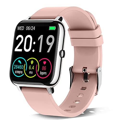 Rinsmola Smartwatch Donna, Orologio Fitness Smart Watch Contapassi Cardiofrequenzimetro, 1,4'' Full Touch Sportivo Activity Tracker Cronometro, Notifiche Messaggi, Controller Fotocamera Musicale Rosa