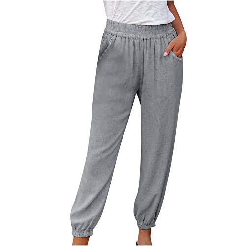 Janly Clearance Sale Pantalones para mujer, talla grande, con cordón, casual, cintura elástica, bolsillos sueltos, para Pascua, día de San Patricio, color gris