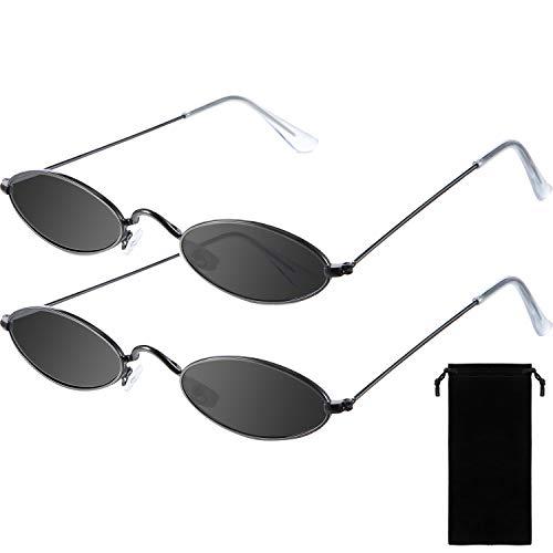 2 Paar Vintage Ovale Sonnenbrille Kleine Ovale Sonnenbrille Mini Vintage Stilvolle Runde Brille für Frauen Mädchen Männer (Grau Linse und Schwarz Rahmen)