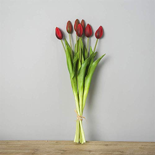 Mimitool Artificial Flower,Fake hand tie tulip Silk Bridal Realistic Bouquet Christmas Party Home Hotel Office Garden Decorative