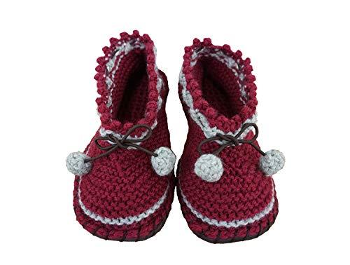 すべりにくい手編みルームシューズ エンジ Lサイズ 編み物キット スリッパ 初心者 手芸 手作りキット 毛糸