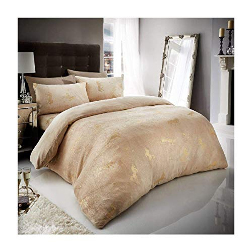FAIRWAYUK Unicorn Bedding Set, Thermal Warm Quilt Duvet Cover with Pillowcase, Natural, Double