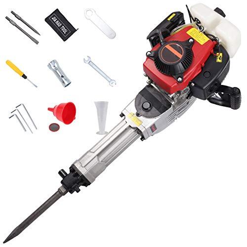 Aocay Abbruchhammer 4-Takt Multifunktion Benzin Stemmhammer 68CC Pneumatik Bohrhammer Schnurlos 2400W Industriell Beton Steinbrecher Hammer, Doppelgriffe, Einfach zu Bedienen