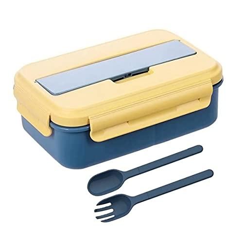 Eastor lunch box,1000ml bento box avec 3 Compartiments et Couverts,de Sécurité Leakproof Boîtes, boite repas compartiment pour Adultes Enfants,Peut être utilisé au Micro-Ondes (bleu)