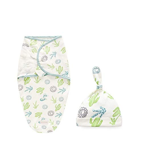 Aututer Babydecke + Hut Neugeborener Kokon gewickelt Baumwollwindeltasche Babyumschlag Schlafsack Bettwäsche Decke und Windel