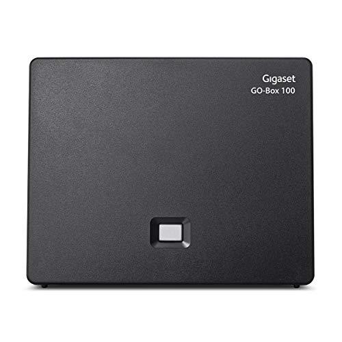 Gigaset DECT Basisstation GO Box 100 für den analogen Telefonanschluss und/oder zur kabellosen Verbindung mit Ihrem Router - kompatibel mit 6 Gigaset Mobilteilen, in schwarz