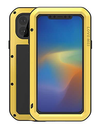 Completo Funda para Apple iPhone 11 Pro Max(6,5-pulgada), Love Mei Antichoque Al aire libre Híbrido Aluminio Metal Antipolvo Carcasas con Vidrio Templado, Soporte de carga inalámbrica (Amarillo)