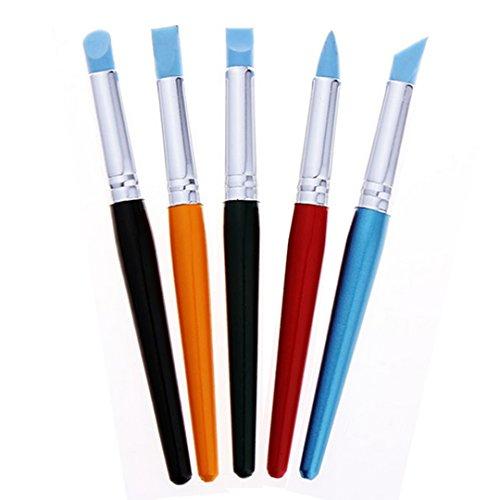 ABBY 5pcs sculpture de l'aquarelle peinture huile de silicone de pinceau, stylo (Couleur)