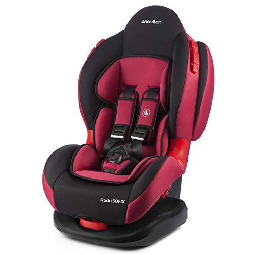 BABYLON asiento para bebé coche Rock Isofix asiento para niños grupo 1/2, asiento para niños 9-25 kg (9 meses a 7 años).silla coche bebe ECE R44 /0 Negro/Rojo Marsala