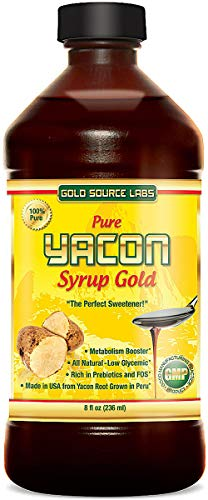 Pure Yacon Syrup Gold - All Natural Sweetener and Sugar Substitute, Highest FOS, 8 oz - Raw Root Extract Controls Appetite, Improves Metabolism, Lowers Blood Sugar, Great for Keto Weight Loss Diet