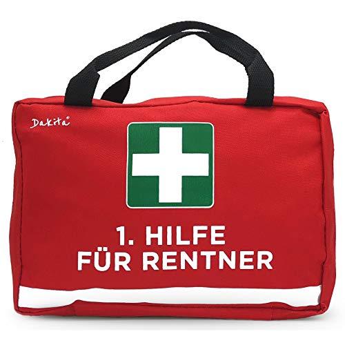 Dakita 1. Hilfe Tasche zur Rente - 28x18x8cm groß | Lustiges Rentner Geschenk zum Ruhestand Abschied für Kollegen | Ideales Abschiedsgeschenk für Rentner zum Renteneintritt (rot, ohne Inhalt)