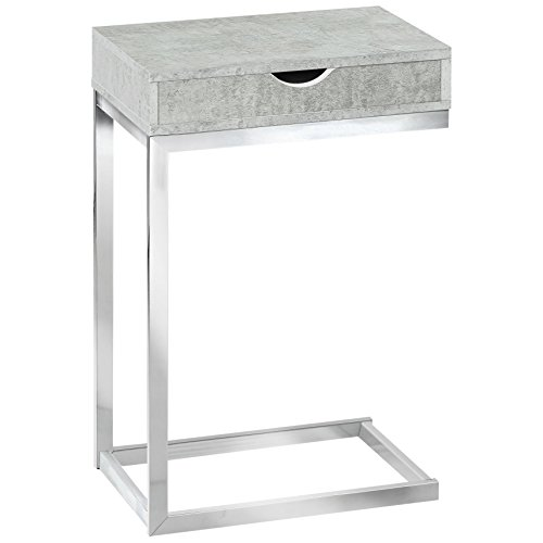 Monarch Specialties Accent Drawer-Chrome Metal Base, Gray Cement C-Table