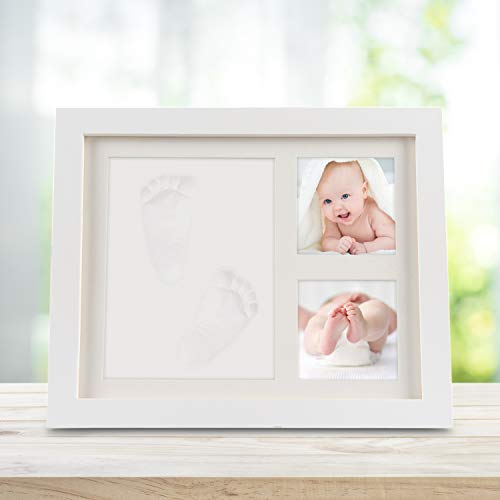 Baby Handabdruck und Fußabdruck, Orlegol Baby Holz Bilderrahmen mit Gipsabdruck für Baby Hand und Fuß, Abdruckset Bilderrahmen Baby Geschenk, Besonderes Geschenk zur Geburt für Neugeborene (Weiß)
