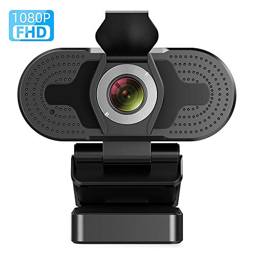 TROPRO Webcam mit Mikrofon, Full HD 1080P Computer Kamera mit Abdeckung USB PC WebKamera mit Cover Laptop Streaming Web Camera Für Skype,Zoom,FaceTime, Hangouts, etc.
