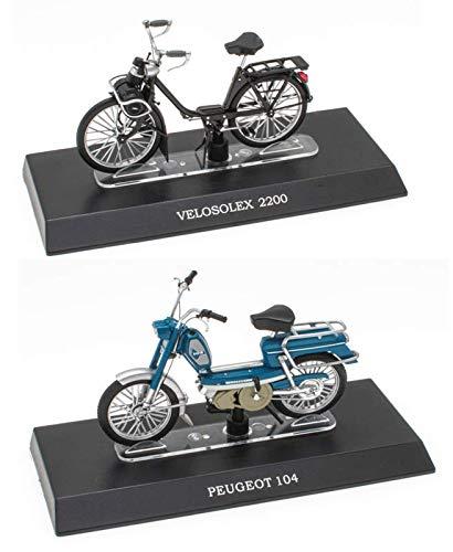 OPO 10 - Lote de 2 ciclomotores legendarios 1/18: Peugeot 104 + Solex (M11 + M17)