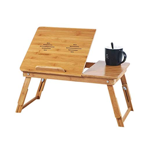 ZXL Laptopbureau, eenvoudig gebruik voor de studentenkamer lezen leuk bamboebed tafel (kleur: prismatisch, grootte: zonder ventilator)