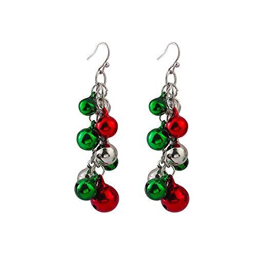 DesignerBox Christmas Jingle Bells Earrings, 1 Pair Christmas Earring Costume Jewelry Gift for Women Girls Cute Xmas Santa Claus Drop Dangle Chandelier Earrings Birthday Party (1 Pair Jingle Bells)