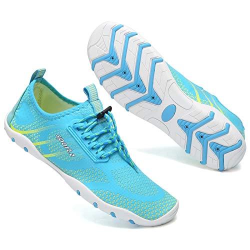 Zapatos de agua para hombre mujer de secado rápido piscina descalzo acuático deportes acuáticos surf playa canotaje buceo lago yoga zapatos calcetines, color Turquesa, talla 39.5 EU