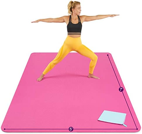 Large Yoga Mat 7 x5 x8mm Extra Thick Durable Eco Friendly Non Slip Odorless Barefoot Exercise product image