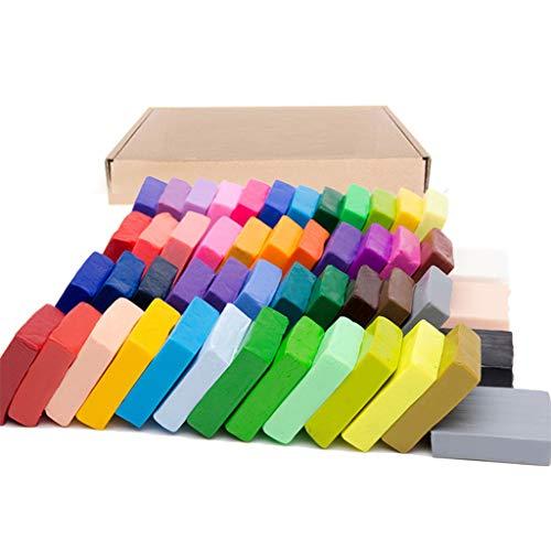 Yushu 50 colores de arcilla polimérica, para hacer manualidades de moldeo suave para hornear bloques de arcilla para hornear para regalo