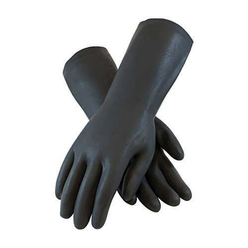 PIP Assurance 28 Mil Flock Lined Neoprene Chemical Gloves with Raised Diamond Grip, Size S-XL (Small)
