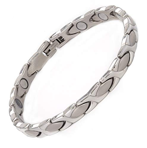 MAGNETJEWELRYSTORE Magnetic Therapy Bracelet High Power Stainless Steel XOXO