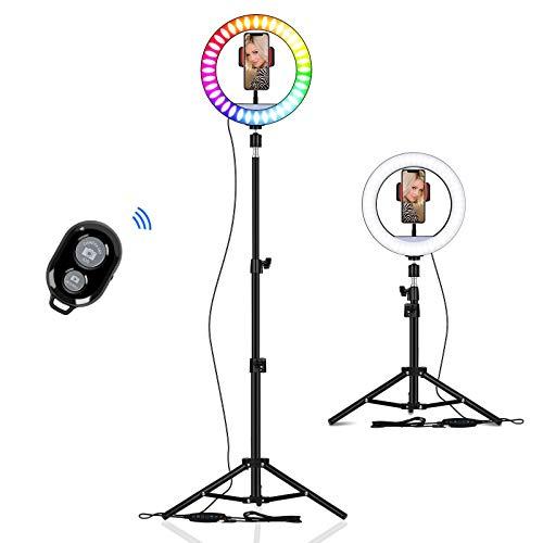 Anillo de luz con trípode, 10 pulgadas, anillo de luz LED 8 modos de color RGB y 3 modos de luz normal para selfie, para vídeos, vlog, maquillaje, YouTube, Live Stream