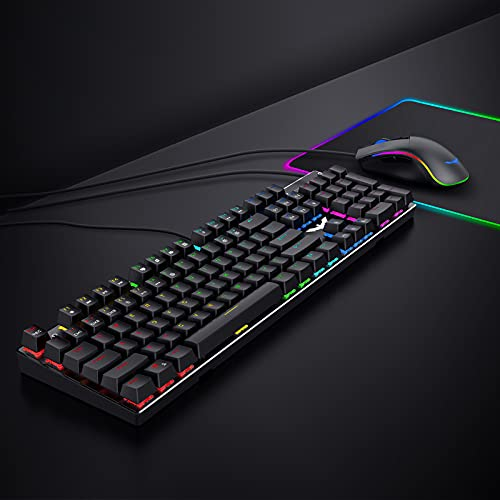 Mechanical Keyboard and Mouse, Havit Wired Gaming Keyboard Blue Switch 104 Keys Rainbow Backlit Keyboard and 7 Button Wired Mouse 4800 DPI for PC Computer Gamer (Black)