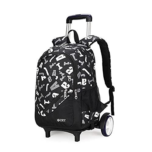 Night K Mochila para niños con carrito de almacenamiento grande, mochila de lona para estudiantes, adolescentes, informal, impermeable, E-32 x 19 x 47 cm
