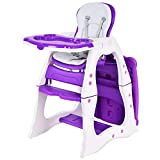 Costzon Baby High Chair, 3 in 1 Infant Table and Chair Set, Convertible Booster Seat with...