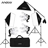 Andoer Softbox Kit de Iluminación para Photo Studio Video, (12)Bombilla 45W (Equivalente a 2400W), (3)Portalámparas 4-en-1, (3)Softbox, (3)Light Stand 200cm, (1)Barra de brazo de suspensión (1)Bolsa