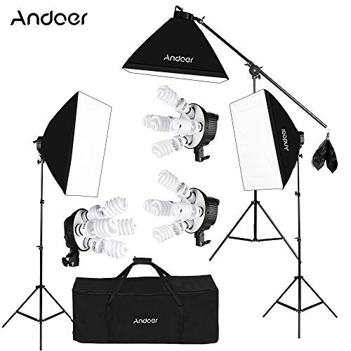 Andoer Softbox Fotografico Illuminazione Kit per Studio Video, (12)Lampadina 45W(Equivalente 2400W),(3)Portalampada 4-in-1,(3)Softbox,(3)200cm Light Stand,(1)Asta del Braccio di Sospensione,(1)Borsa