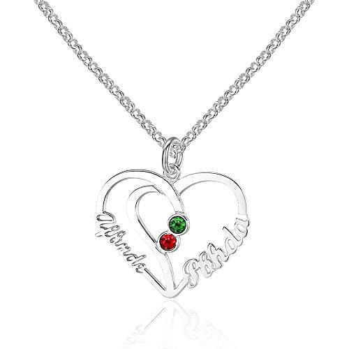 Bo&Pao Namenskette Herz 925 Sterling Silber mit Zwei Wunschname und Geburtsstein, individuelle Silber/Rosegold/Gold Kette mit Namen Herzanhänger