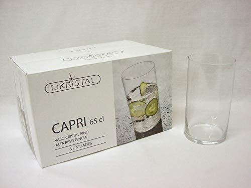 Dkristal Capri Vaso para Combinados, 0.65 L, Cristal, 7.8x7.8x14 cm, 6 Unidades