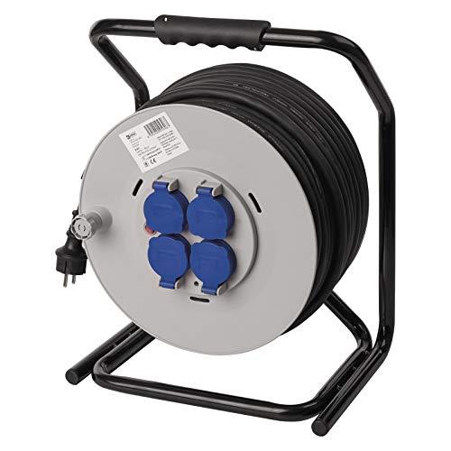 EMOS professionele kabelhaspel, met versterkte kabel, IP44 voor buiten, 50 m met 4 stopcontacten met klapdeksel, 2,5 mm schuko, voor tuin, werkplaats